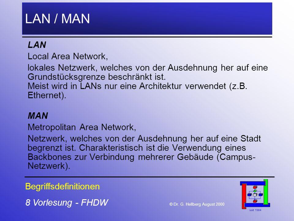 8 Vorlesung - FHDW © Dr. G. Hellberg August 2000 LAN / MAN LAN Local Area Network, lokales Netzwerk, welches von der Ausdehnung her auf eine Grundstüc