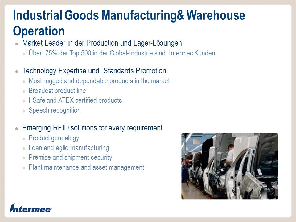Industrial Goods Manufacturing& Warehouse Operation Market Leader in der Production und Lager-Lösungen Über 75% der Top 500 in der Global-Industrie si