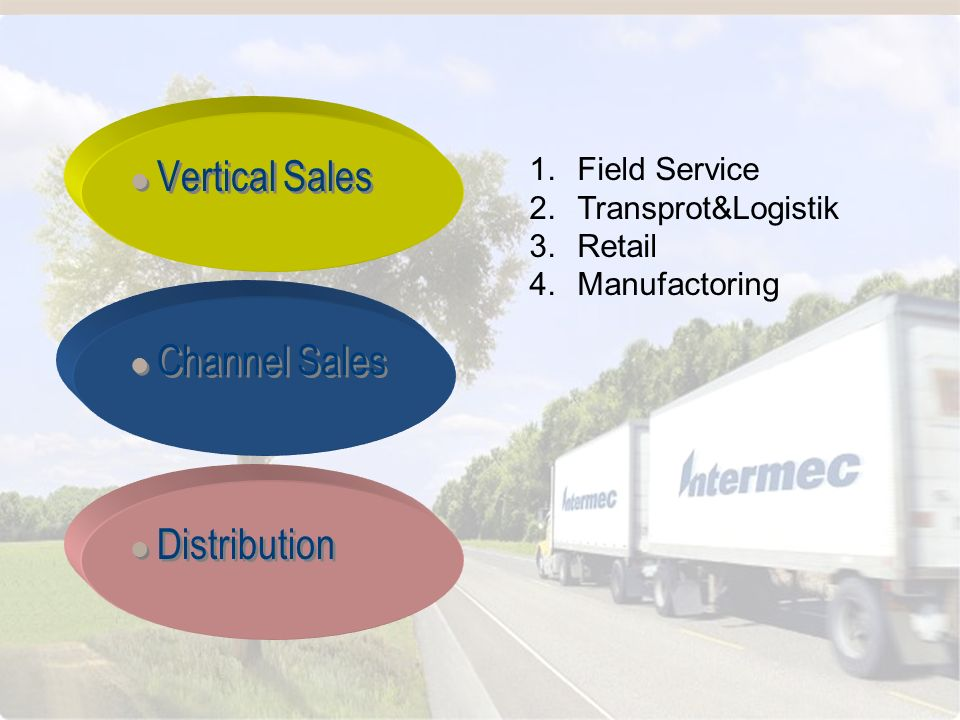 Vertriebliche Aufstellung 1.Field Service 2.Transprot&Logistik 3.Retail 4.Manufactoring Vertical Sales Channel Sales Distribution Vertical Sales Chann