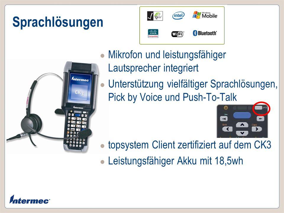 Sprachlösungen Mikrofon und leistungsfähiger Lautsprecher integriert Unterstützung vielfältiger Sprachlösungen, Pick by Voice und Push-To-Talk topsyst