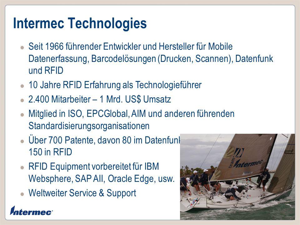 Intermec Technologies Seit 1966 führender Entwickler und Hersteller für Mobile Datenerfassung, Barcodelösungen (Drucken, Scannen), Datenfunk und RFID