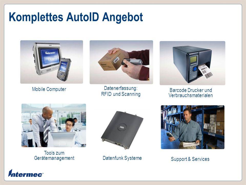 Komplettes AutoID Angebot Mobile Computer Datenerfassung: RFID und Scanning Barcode Drucker und Verbrauchsmaterialen Tools zum Gerätemanagement Suppor