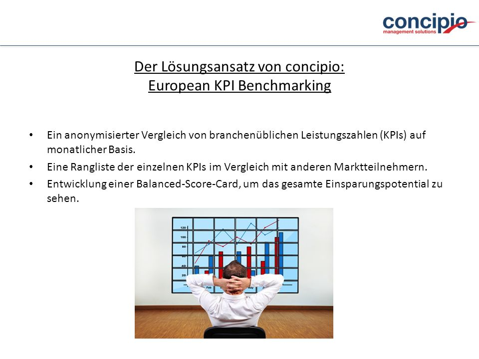 Der Lösungsansatz von concipio: European KPI Benchmarking Ein anonymisierter Vergleich von branchenüblichen Leistungszahlen (KPIs) auf monatlicher Bas