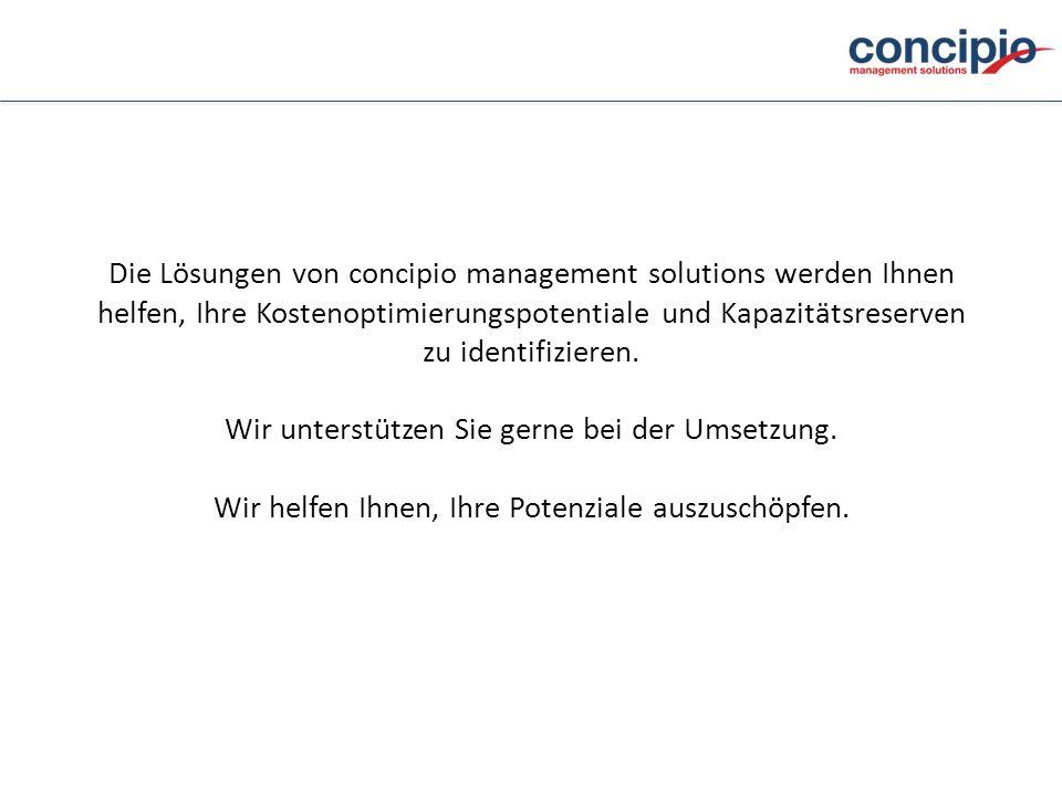 Die Lösungen von concipio management solutions werden Ihnen helfen, Ihre Kostenoptimierungspotentiale und Kapazitätsreserven zu identifizieren. Wir un
