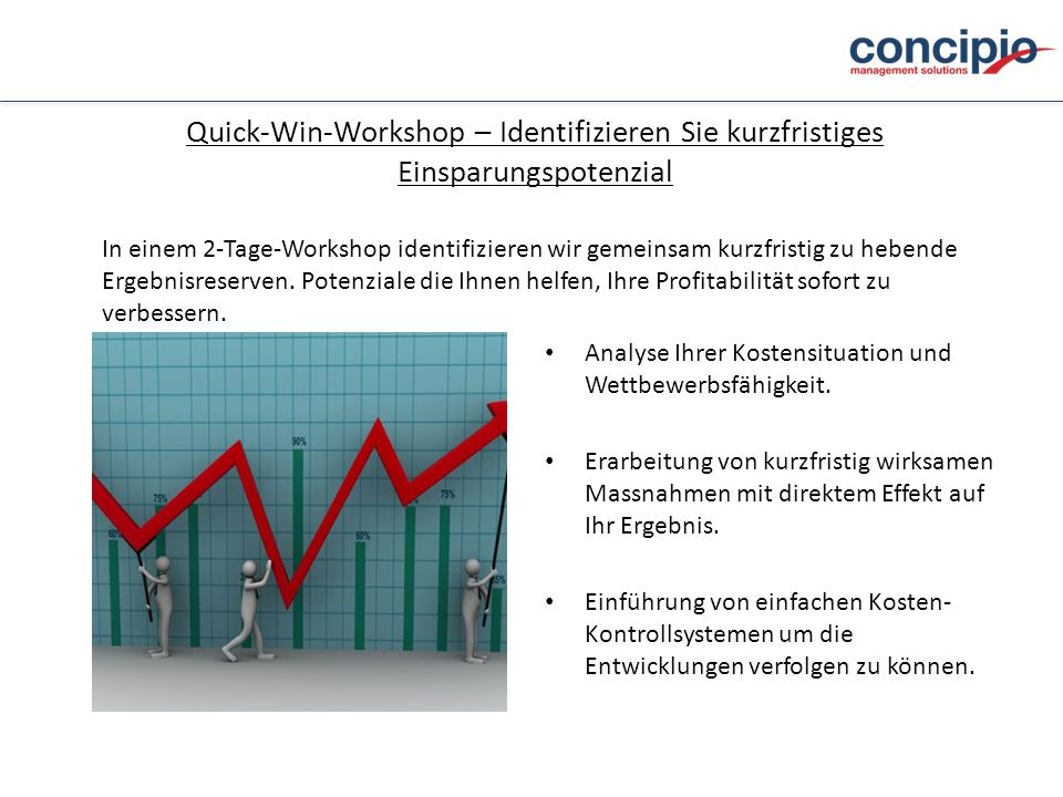Quick-Win-Workshop – Identifizieren Sie kurzfristiges Einsparungspotenzial Analyse Ihrer Kostensituation und Wettbewerbsfähigkeit. Erarbeitung von kur