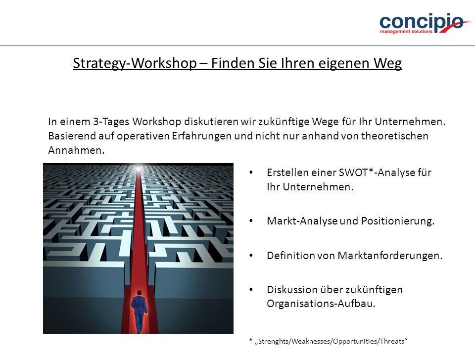 Strategy-Workshop – Finden Sie Ihren eigenen Weg Erstellen einer SWOT*-Analyse für Ihr Unternehmen. Markt-Analyse und Positionierung. Definition von M