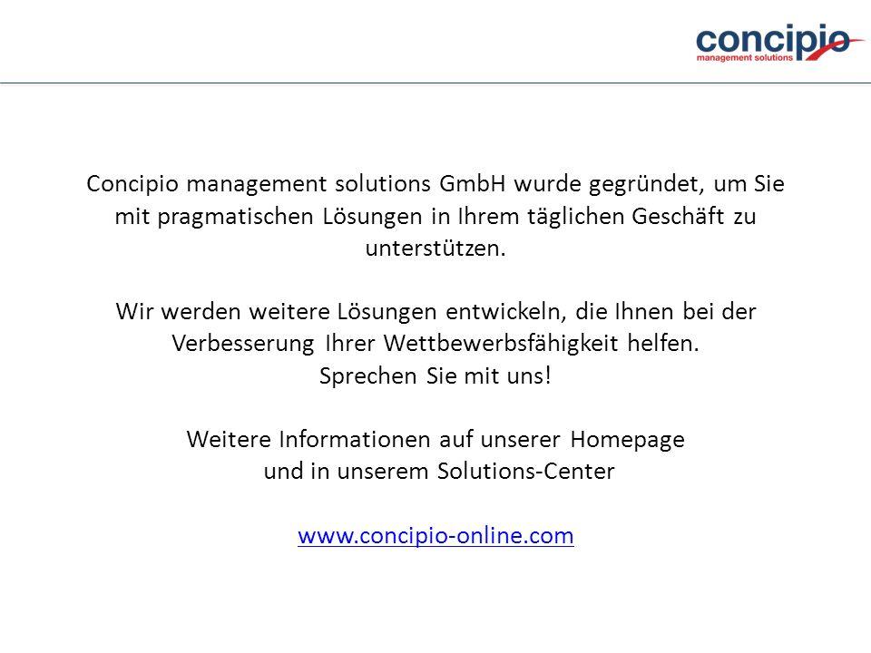 Concipio management solutions GmbH wurde gegründet, um Sie mit pragmatischen Lösungen in Ihrem täglichen Geschäft zu unterstützen. Wir werden weitere