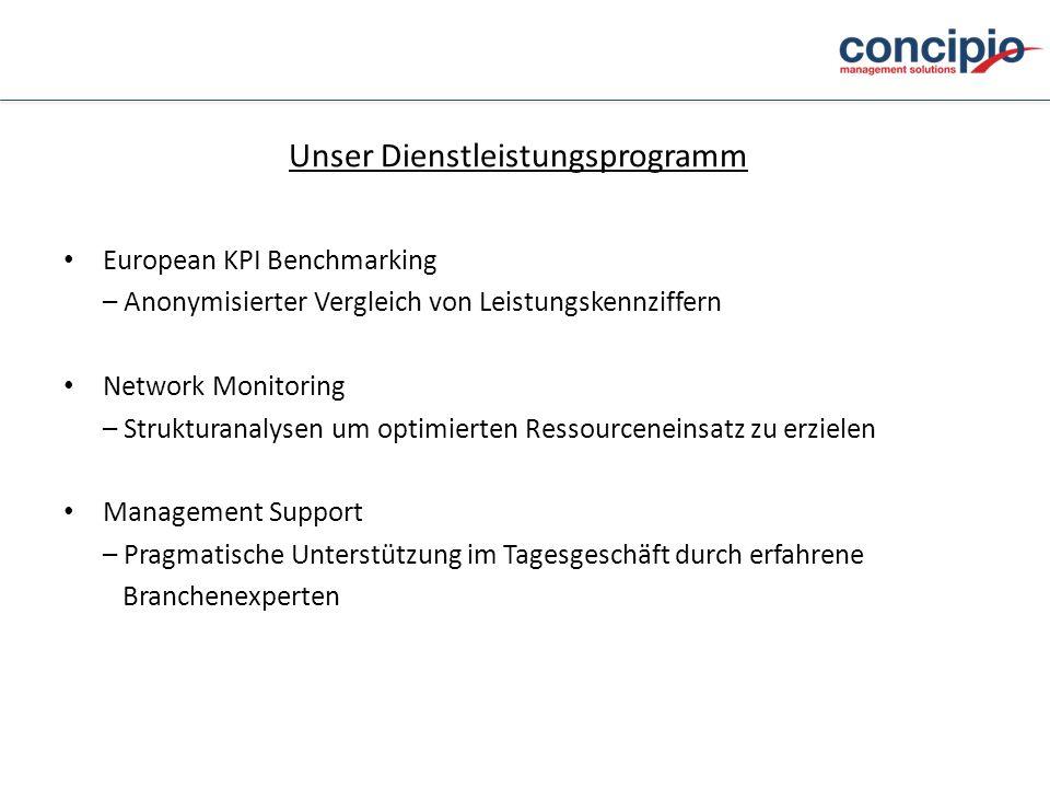 Unser Dienstleistungsprogramm European KPI Benchmarking – Anonymisierter Vergleich von Leistungskennziffern Network Monitoring – Strukturanalysen um o