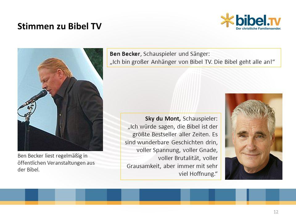 Stimmen zu Bibel TV Sky du Mont, Schauspieler: Ich würde sagen, die Bibel ist der größte Bestseller aller Zeiten. Es sind wunderbare Geschichten drin,