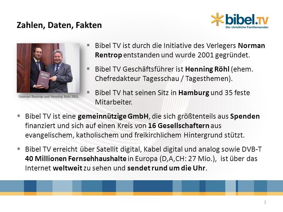 Bibel TV ist durch die Initiative des Verlegers Norman Rentrop entstanden und wurde 2001 gegründet. Bibel TV Geschäftsführer ist Henning Röhl (ehem. C