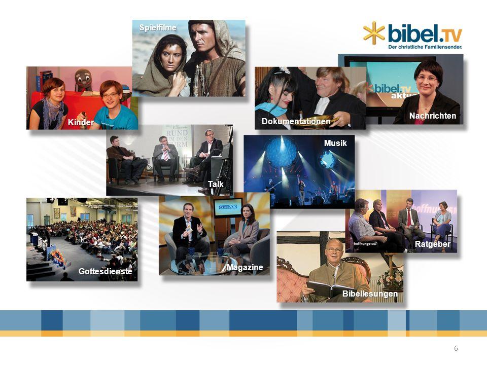 Finanzierung 7 Bibel TV ist zu 90% aus Spenden finanziert, zu 10 % aus Werbung Bibel TV ist unabhängig von GEZ-Gebühren Bibel TV Zuschauer finanzieren ihren Sender