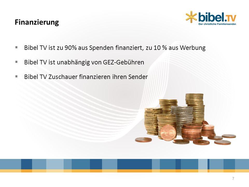 Finanzierung 7 Bibel TV ist zu 90% aus Spenden finanziert, zu 10 % aus Werbung Bibel TV ist unabhängig von GEZ-Gebühren Bibel TV Zuschauer finanzieren
