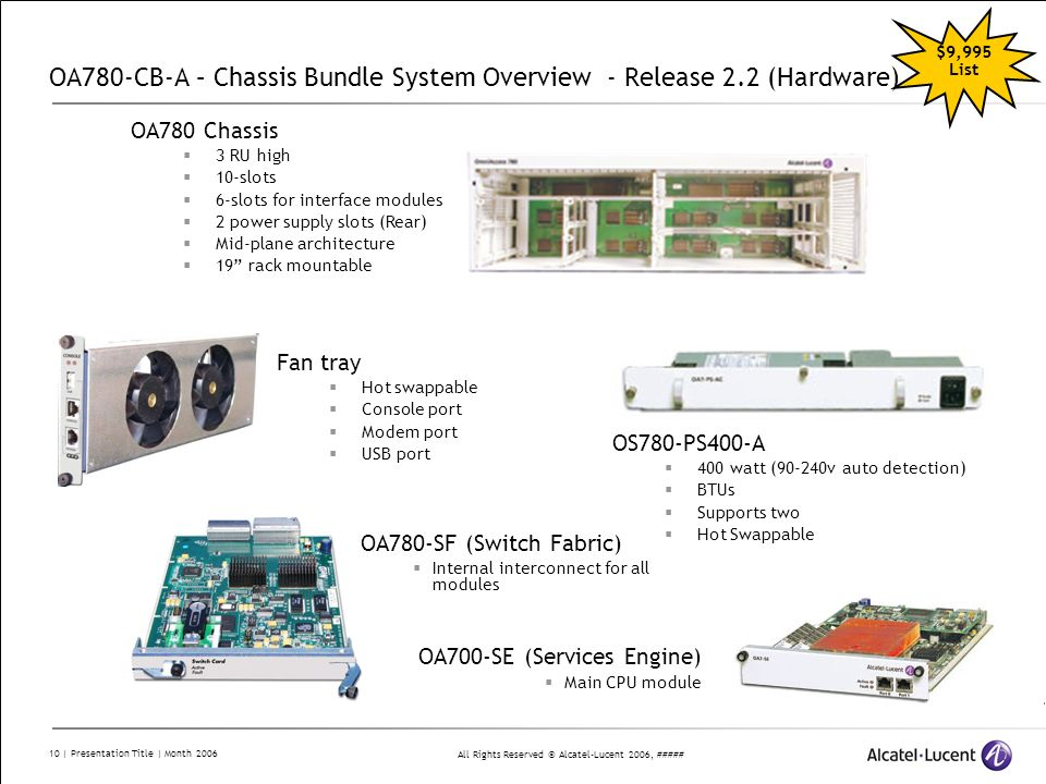 All Rights Reserved © Alcatel-Lucent 2006, ##### 10 | Presentation Title | Month 2006 OA780-CB-A – Chassis Bundle System Overview - Release 2.2 (Hardw