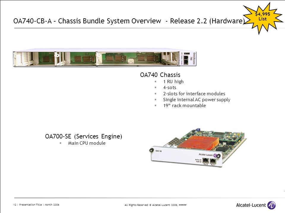 All Rights Reserved © Alcatel-Lucent 2006, ##### 12 | Presentation Title | Month 2006 OA740-CB-A – Chassis Bundle System Overview - Release 2.2 (Hardw