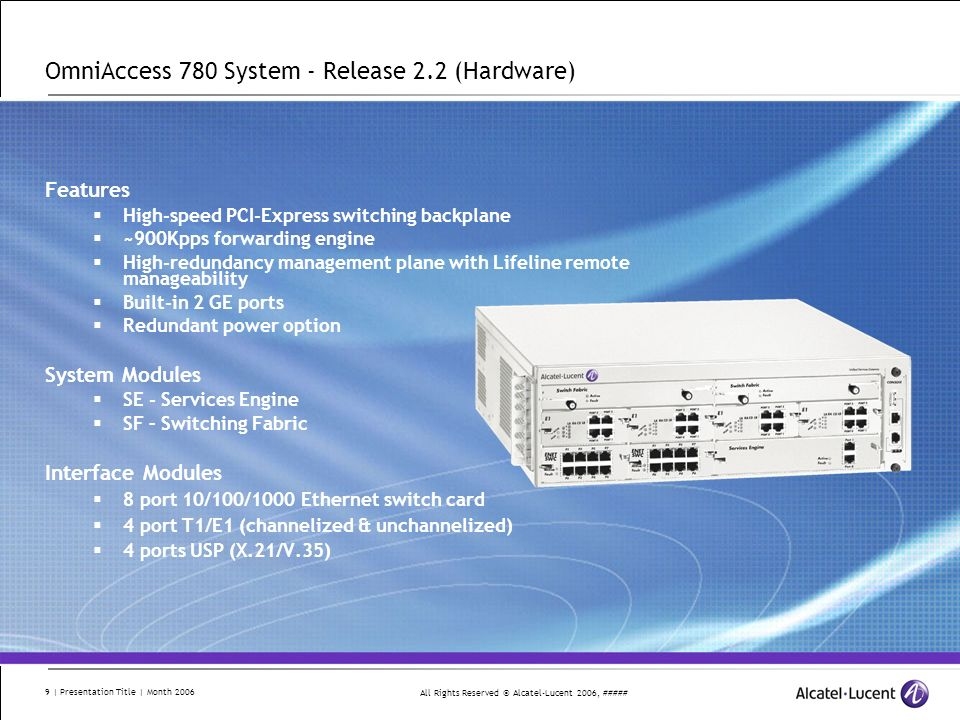 All Rights Reserved © Alcatel-Lucent 2006, ##### 10 | Presentation Title | Month 2006 OA780-CB-A – Chassis Bundle System Overview - Release 2.2 (Hardware) Fan tray Hot swappable Console port Modem port USB port OA780-SF (Switch Fabric) Internal interconnect for all modules OA700-SE (Services Engine) Main CPU module OA780 Chassis 3 RU high 10-slots 6-slots for interface modules 2 power supply slots (Rear) Mid-plane architecture 19 rack mountable OS780-PS400-A 400 watt (90-240v auto detection) BTUs Supports two Hot Swappable $9,995 List