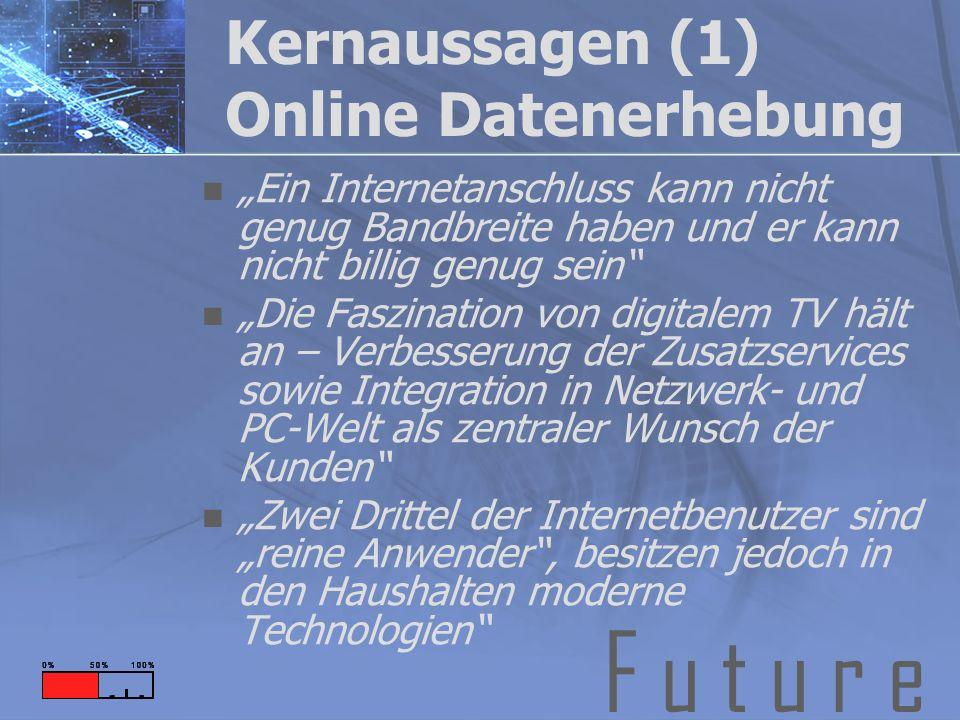 F u t u r e Kernaussagen (1) Online Datenerhebung Ein Internetanschluss kann nicht genug Bandbreite haben und er kann nicht billig genug sein Die Fasz