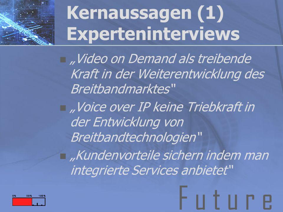 F u t u r e Kernaussagen (1) Experteninterviews Video on Demand als treibende Kraft in der Weiterentwicklung des Breitbandmarktes Voice over IP keine