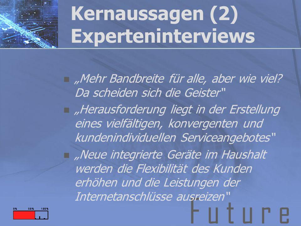 F u t u r e Kernaussagen (2) Experteninterviews Mehr Bandbreite für alle, aber wie viel.