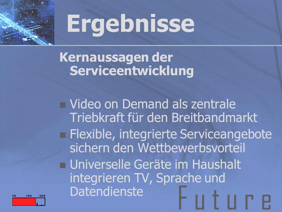 F u t u r e Ergebnisse Kernaussagen der Serviceentwicklung Video on Demand als zentrale Triebkraft für den Breitbandmarkt Flexible, integrierte Serviceangebote sichern den Wettbewerbsvorteil Universelle Geräte im Haushalt integrieren TV, Sprache und Datendienste