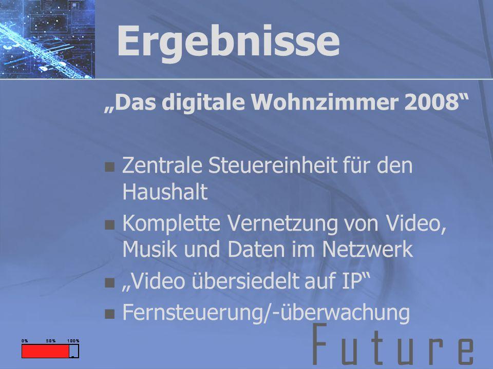 F u t u r e Ergebnisse Das digitale Wohnzimmer 2008 Zentrale Steuereinheit für den Haushalt Komplette Vernetzung von Video, Musik und Daten im Netzwerk Video übersiedelt auf IP Fernsteuerung/-überwachung