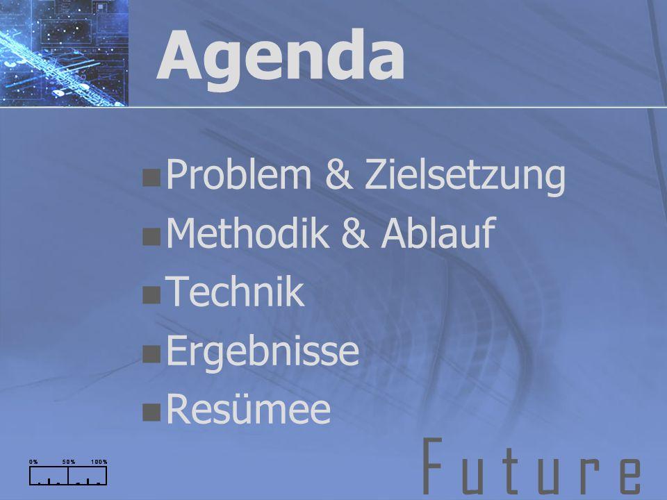 F u t u r e Agenda Problem & Zielsetzung Methodik & Ablauf Technik Ergebnisse Resümee