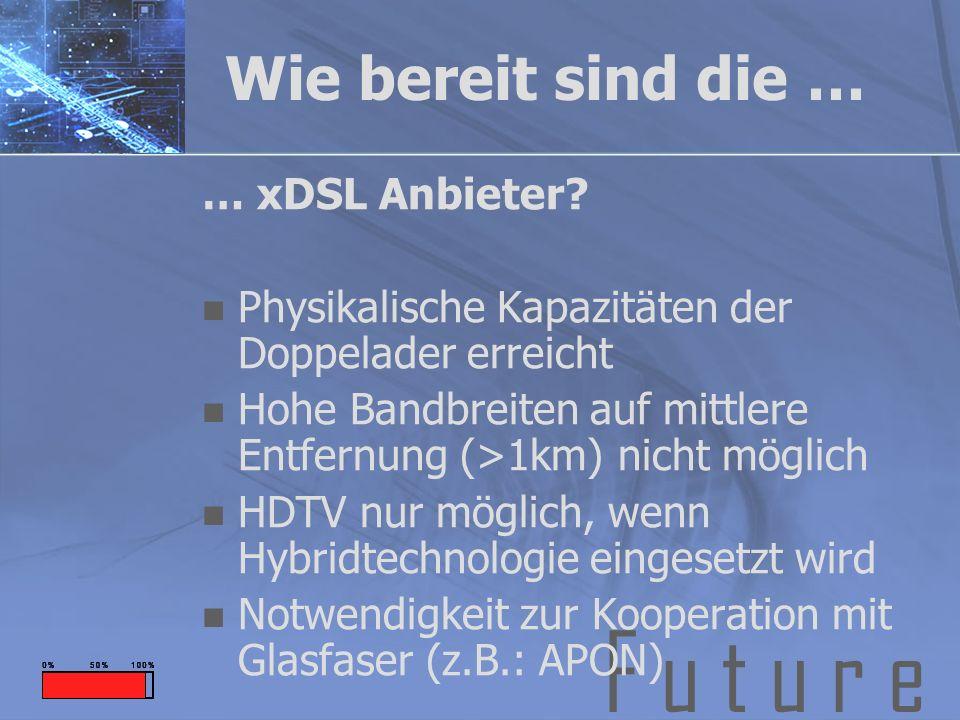 F u t u r e Wie bereit sind die … … xDSL Anbieter? Physikalische Kapazitäten der Doppelader erreicht Hohe Bandbreiten auf mittlere Entfernung (>1km) n