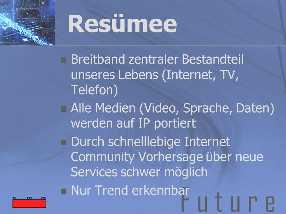F u t u r e Resümee Breitband zentraler Bestandteil unseres Lebens (Internet, TV, Telefon) Alle Medien (Video, Sprache, Daten) werden auf IP portiert
