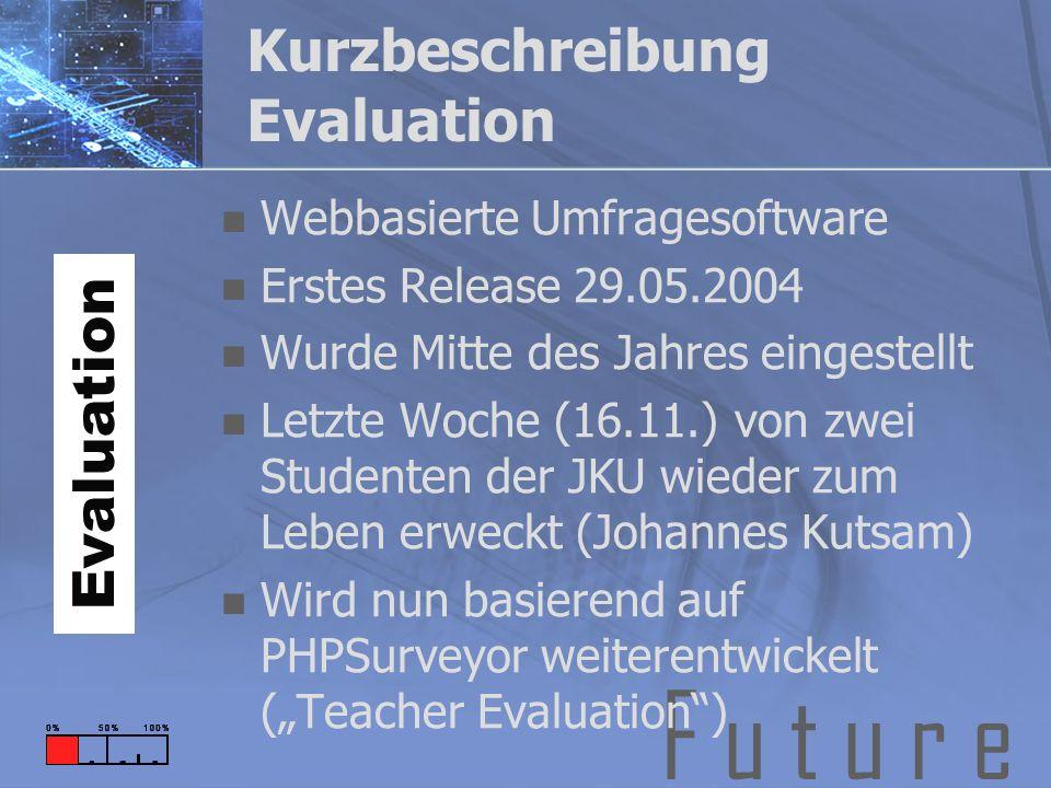 F u t u r e Kurzbeschreibung Evaluation Webbasierte Umfragesoftware Erstes Release 29.05.2004 Wurde Mitte des Jahres eingestellt Letzte Woche (16.11.) von zwei Studenten der JKU wieder zum Leben erweckt (Johannes Kutsam) Wird nun basierend auf PHPSurveyor weiterentwickelt (Teacher Evaluation) Evaluation