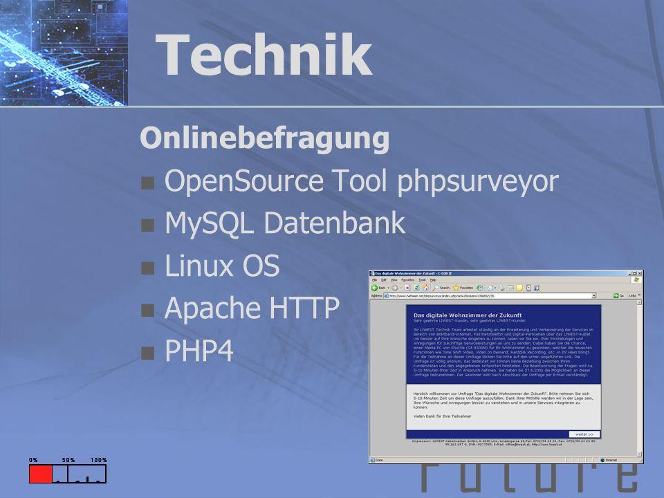 F u t u r e Technik Onlinebefragung OpenSource Tool phpsurveyor MySQL Datenbank Linux OS Apache HTTP PHP4