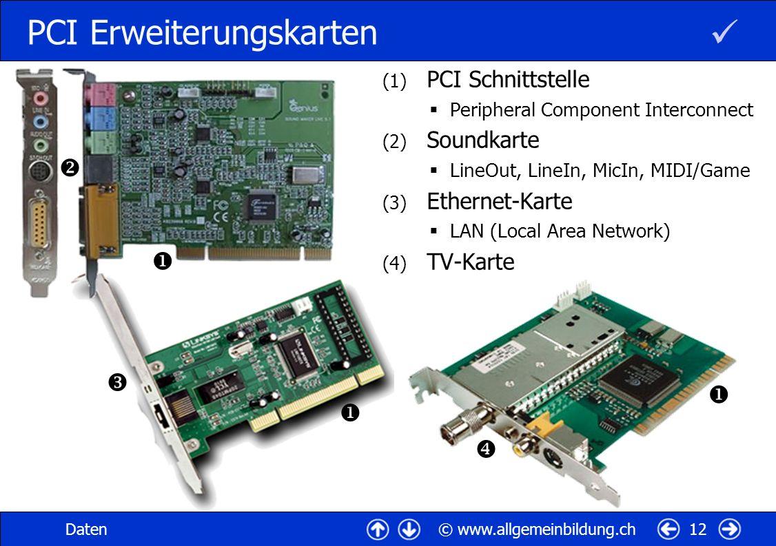 © www.allgemeinbildung.chDaten12 PCI Erweiterungskarten (1) PCI Schnittstelle Peripheral Component Interconnect (2) Soundkarte LineOut, LineIn, MicIn,
