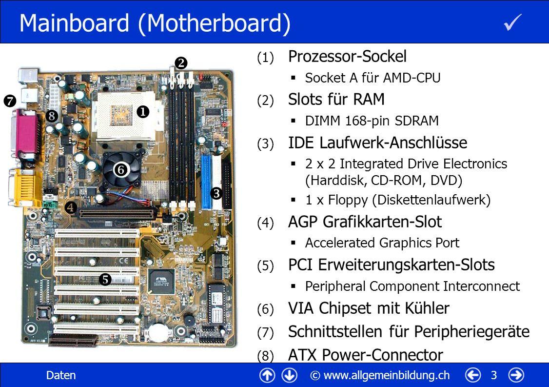 © www.allgemeinbildung.chDaten4 Mainboard-Bus-System (1) Prozessor CPU (Central Processing Unit) (2) MCH (Memory Controller Hub) früher Northbridge (3) RAM-Module (Arbeitsspeicher) (4) ICH (Input Controller Hub) früher Southbridge & I/O-Controller (5) IDE Laufwerk-Anschlüsse Harddisk, CD-ROM, DVD) Floppy (Diskettenlaufw.) (6) PCI Erweiterungskarten-Slots Peripheral Component Interconnect (7) Schnittstellen für Peripheriegeräte Bus = mehradrige Sammelleitung