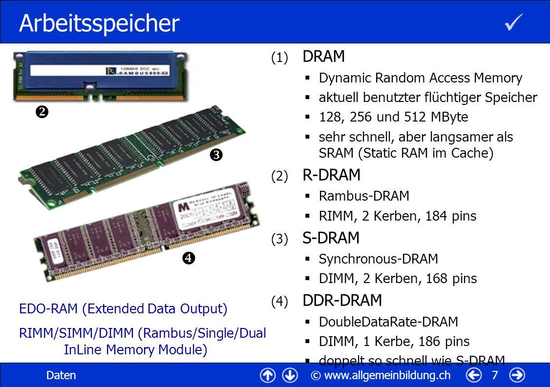 © www.allgemeinbildung.chDaten7 Arbeitsspeicher (1) DRAM Dynamic Random Access Memory aktuell benutzter flüchtiger Speicher 128, 256 und 512 MByte seh