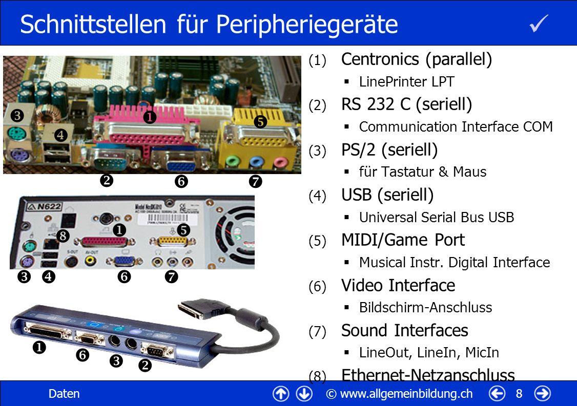 © www.allgemeinbildung.chDaten9 Parallele Datenübertragung (1) Schnittstellen parallel (links) & seriell (rechts) (2) Stecker Enhanced Parallel Port EPP Centronics, LinePrinter LPT (3) Geräte Drucker, Scanner...