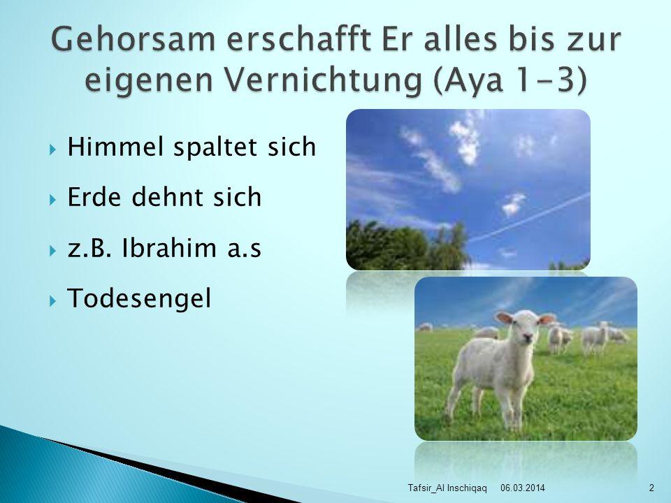 Himmel spaltet sich Erde dehnt sich z.B. Ibrahim a.s Todesengel 06.03.2014Tafsir_Al Inschiqaq2