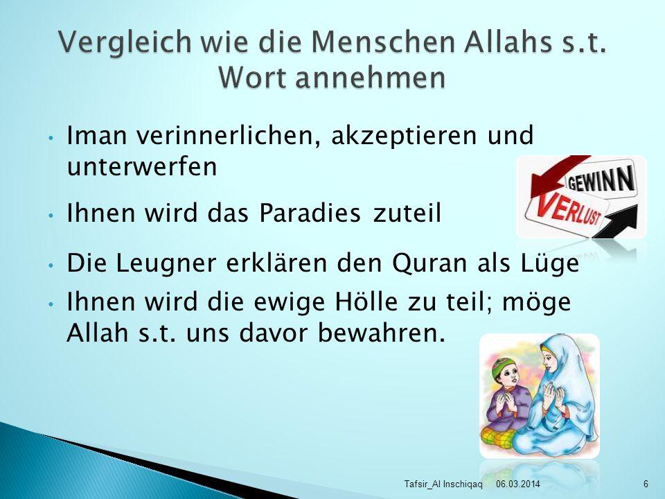 Iman verinnerlichen, akzeptieren und unterwerfen Ihnen wird das Paradies zuteil Die Leugner erklären den Quran als Lüge Ihnen wird die ewige Hölle zu teil; möge Allah s.t.