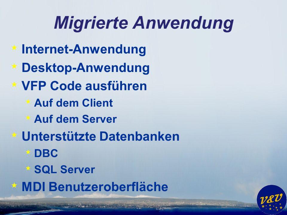 Migrierte Anwendung * Internet-Anwendung * Desktop-Anwendung * VFP Code ausführen * Auf dem Client * Auf dem Server * Unterstützte Datenbanken * DBC * SQL Server * MDI Benutzeroberfläche