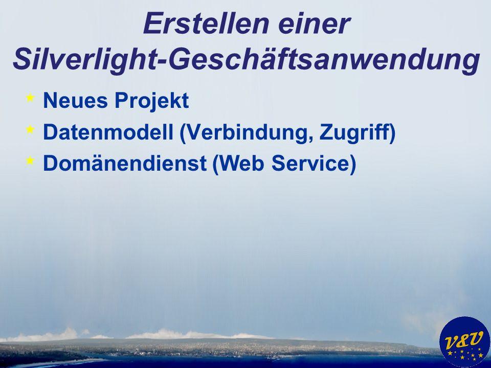 Erstellen einer Silverlight-Geschäftsanwendung * Neues Projekt * Datenmodell (Verbindung, Zugriff) * Domänendienst (Web Service)