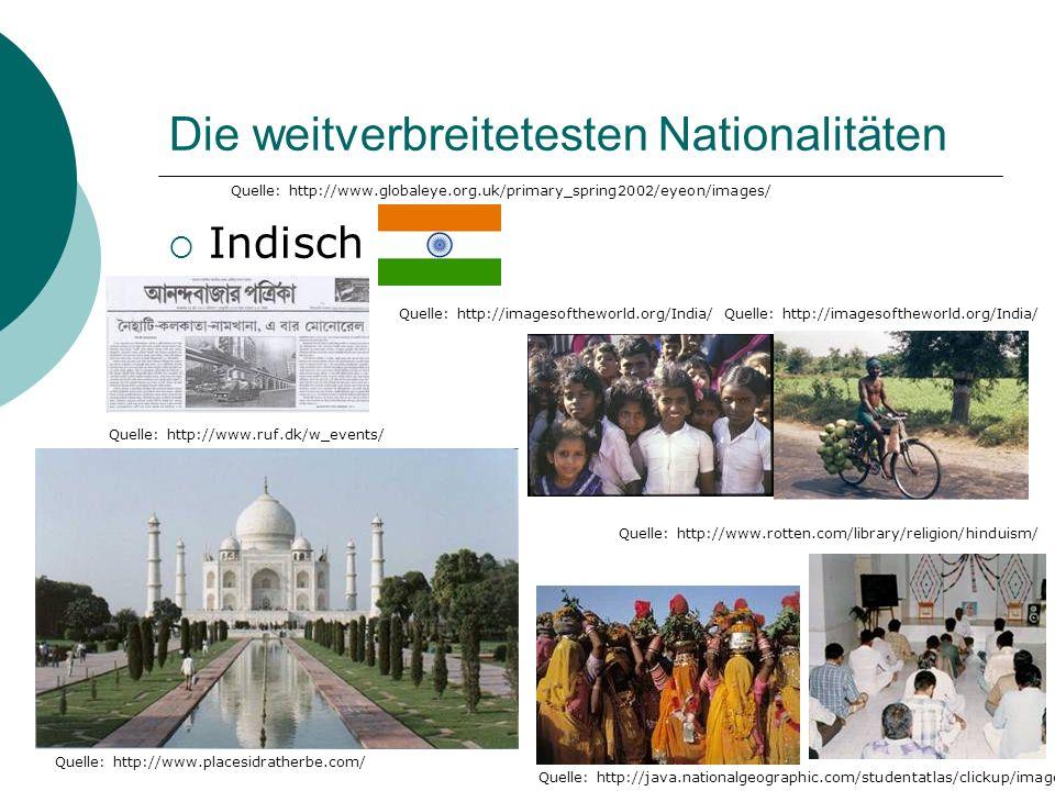 Die weitverbreitetesten Nationalitäten Indisch Quelle: http://www.globaleye.org.uk/primary_spring2002/eyeon/images/ Quelle: http://java.nationalgeographic.com/studentatlas/clickup/images/ Quelle: http://www.rotten.com/library/religion/hinduism/ Quelle: http://www.placesidratherbe.com/ Quelle: http://imagesoftheworld.org/India/ Quelle: http://www.ruf.dk/w_events/
