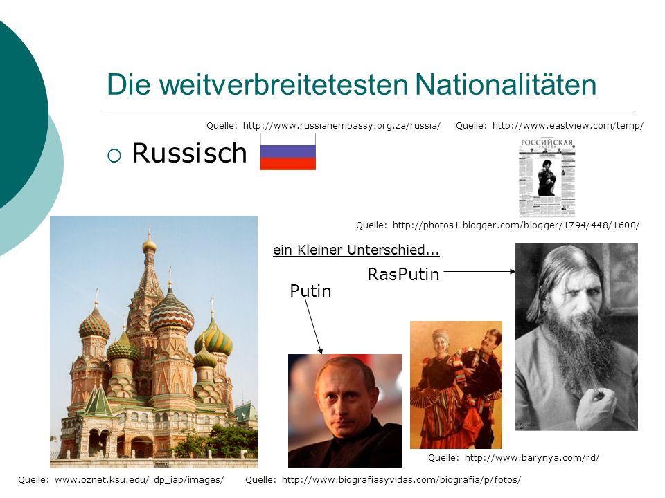 Die weitverbreitetesten Nationalitäten Russisch Quelle: www.oznet.ksu.edu/ dp_iap/images/ Quelle: http://www.biografiasyvidas.com/biografia/p/fotos/ Quelle: http://www.barynya.com/rd/ Quelle: http://photos1.blogger.com/blogger/1794/448/1600/ Quelle: http://www.russianembassy.org.za/russia/ Putin RasPutin ein Kleiner Unterschied...