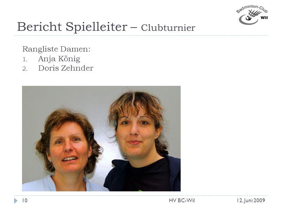 Bericht Spielleiter – Clubturnier Rangliste Damen: 1. Anja König 2. Doris Zehnder 12. Juni 200910HV BC-Wil
