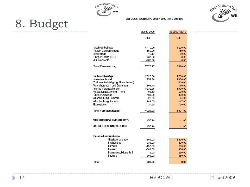 8. Budget 12. Juni 200917HV BC-Wil