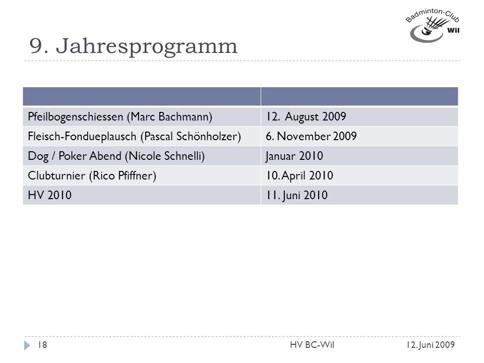 9. Jahresprogramm Pfeilbogenschiessen (Marc Bachmann)12. August 2009 Fleisch-Fondueplausch (Pascal Schönholzer)6. November 2009 Dog / Poker Abend (Nic
