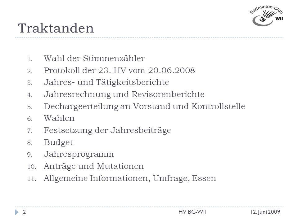 Traktanden 1. Wahl der Stimmenzähler 2. Protokoll der 23. HV vom 20.06.2008 3. Jahres- und Tätigkeitsberichte 4. Jahresrechnung und Revisorenberichte