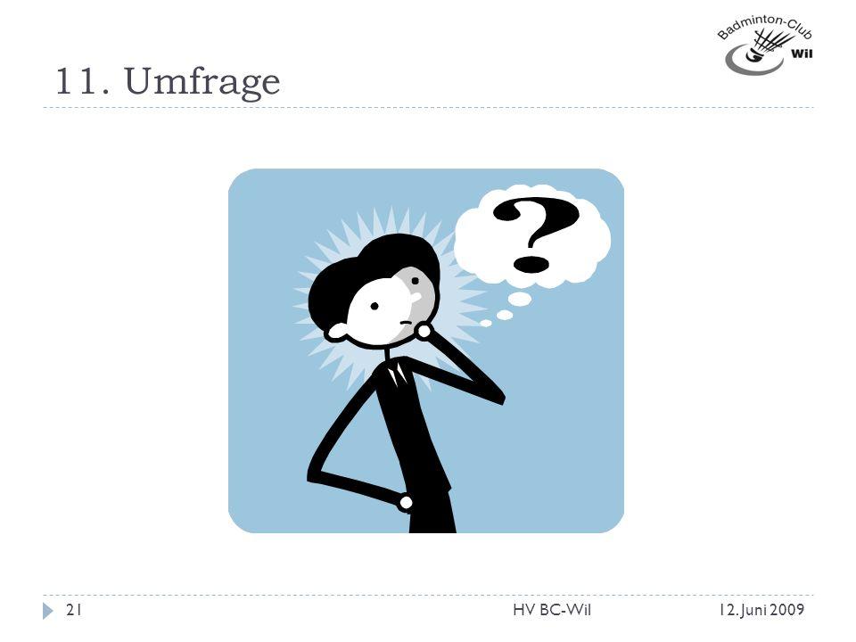 11. Umfrage 12. Juni 200921HV BC-Wil