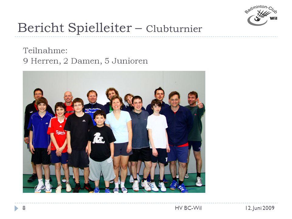 Bericht Spielleiter – Clubturnier Teilnahme: 9 Herren, 2 Damen, 5 Junioren 12. Juni 20098HV BC-Wil