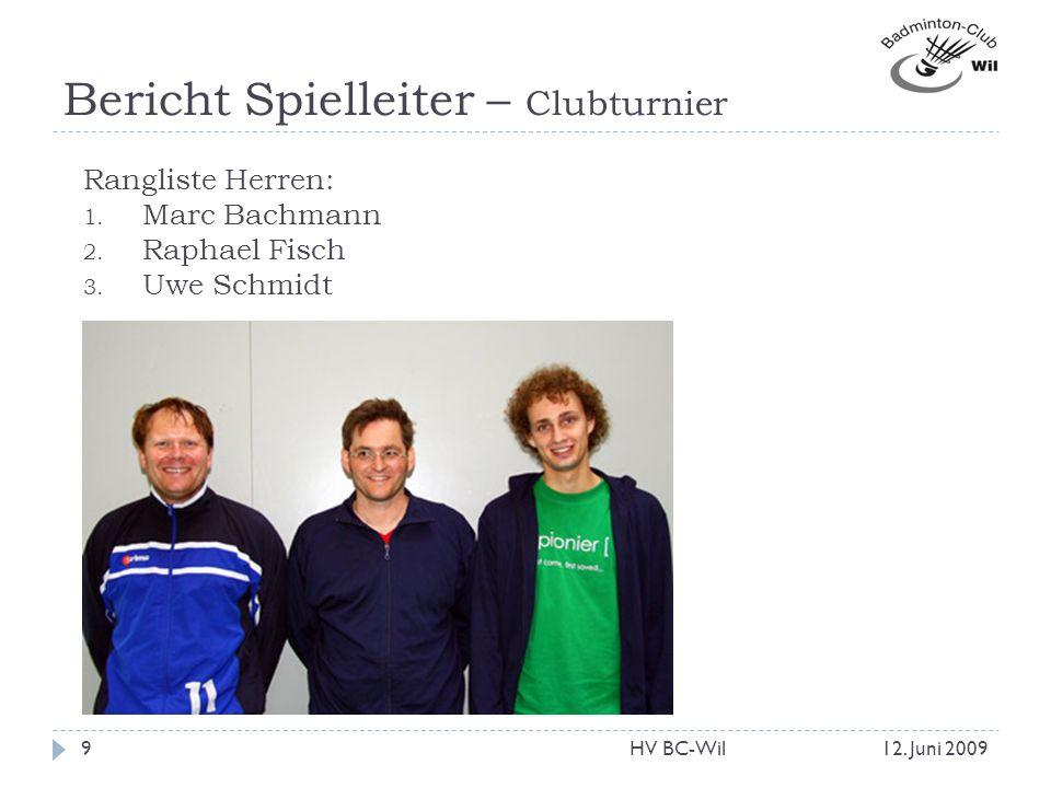 Bericht Spielleiter – Clubturnier Rangliste Herren: 1. Marc Bachmann 2. Raphael Fisch 3. Uwe Schmidt 12. Juni 20099HV BC-Wil