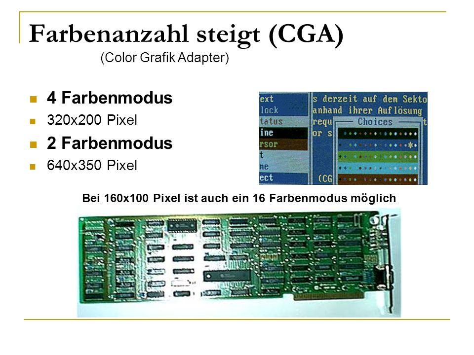 Weiterentwicklung (EGA) (Enhanced Grafik Adapter) 640x350 Pixel 16 Farbmodus Jetzt wird es Bunt (VGA) (Video Grafik Adapter) 320x200 Pixel 256 Farbmodus (MCGA) (Multicolor Grafik Adapter) 720x400 Pixel 256 Farbmodus