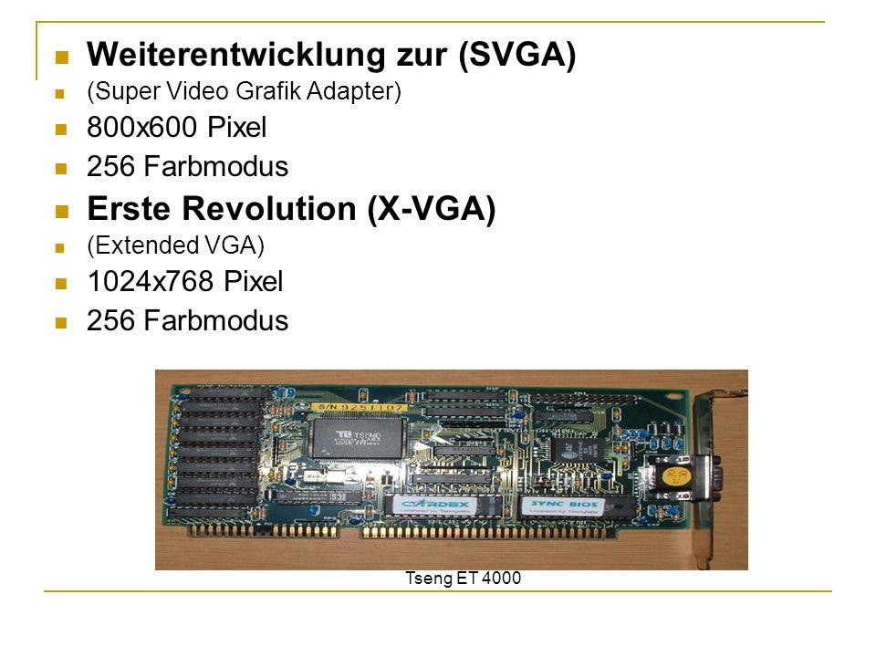 Weiterentwicklung zur (SVGA) (Super Video Grafik Adapter) 800x600 Pixel 256 Farbmodus Erste Revolution (X-VGA) (Extended VGA) 1024x768 Pixel 256 Farbm