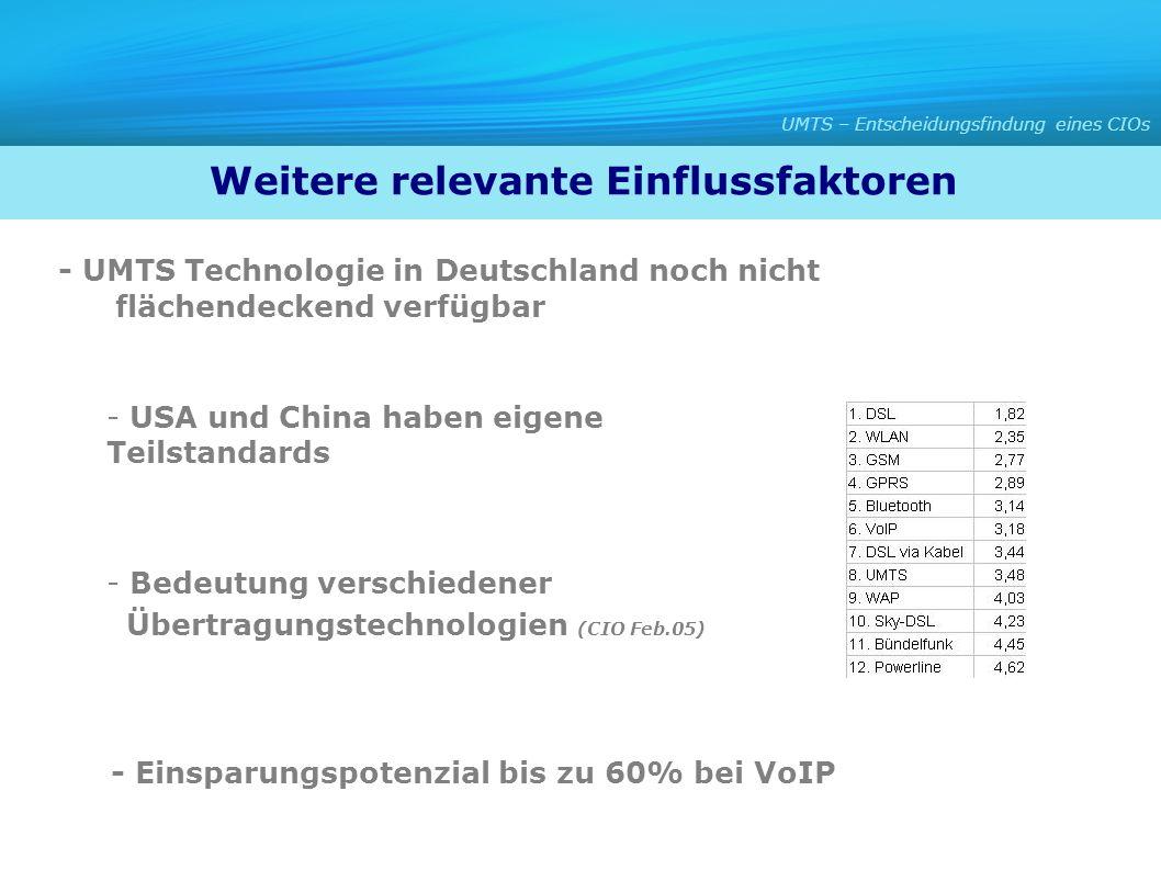 - UMTS Technologie in Deutschland noch nicht flächendeckend verfügbar - USA und China haben eigene Teilstandards - Bedeutung verschiedener Übertragung