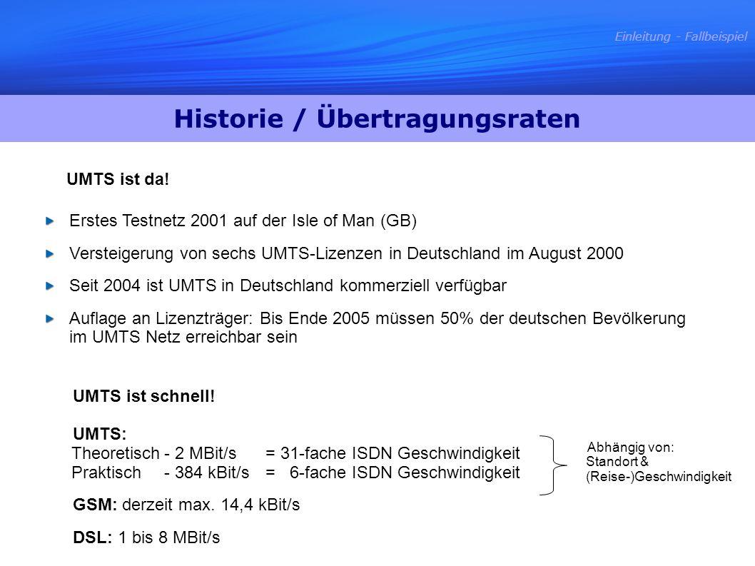 Erstes Testnetz 2001 auf der Isle of Man (GB) Versteigerung von sechs UMTS-Lizenzen in Deutschland im August 2000 Seit 2004 ist UMTS in Deutschland ko